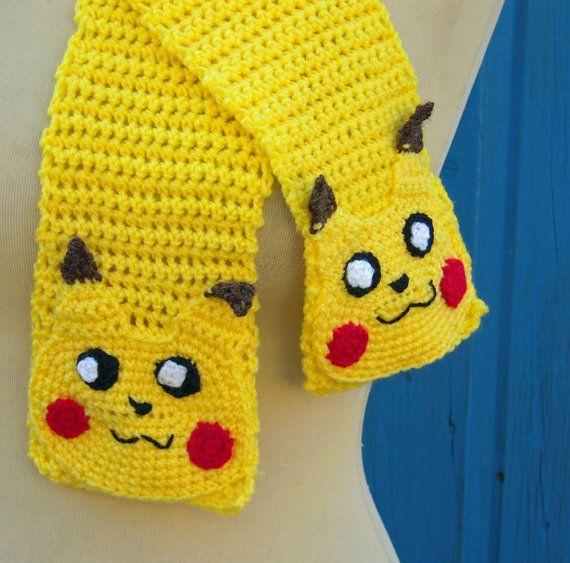 Crochet Pokemon Yellow Pikachu Scarf Adult or by twixtseaandpine, USD23.00 Sc...