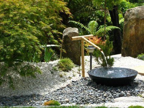 Asiatische Gartendeko bambus-brunnen-wasserspiel-schwarz-schuessel - brunnen garten stein