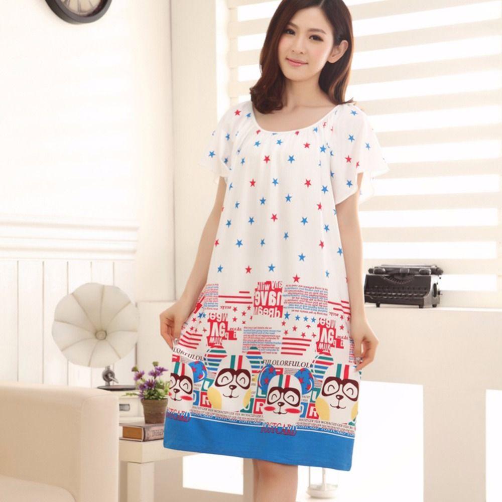 70c7e4a1a5 Plus Size Nightgowns For Women Long Cartoon Girls Nightshirts Nightdress  Cotton And Silk Sleepshirt Summer Dressing Gowns
