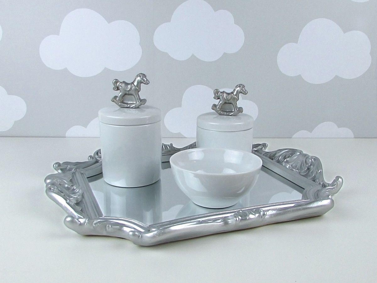 Kit Higiene Cavalinho Prata Provence Cor Prata Kit Higiene E Resina ~ Espelho Para Quarto Infantil E Quarto De Bebe Cavalinho