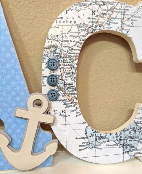 Nautical Boy Nursery Decor, Sailboat, Anchor, Wall Hanging, Wooden ...