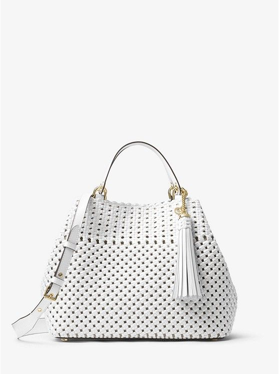 Michael Kors Woven Leather Tote Brooklyn Bag Leather Tote
