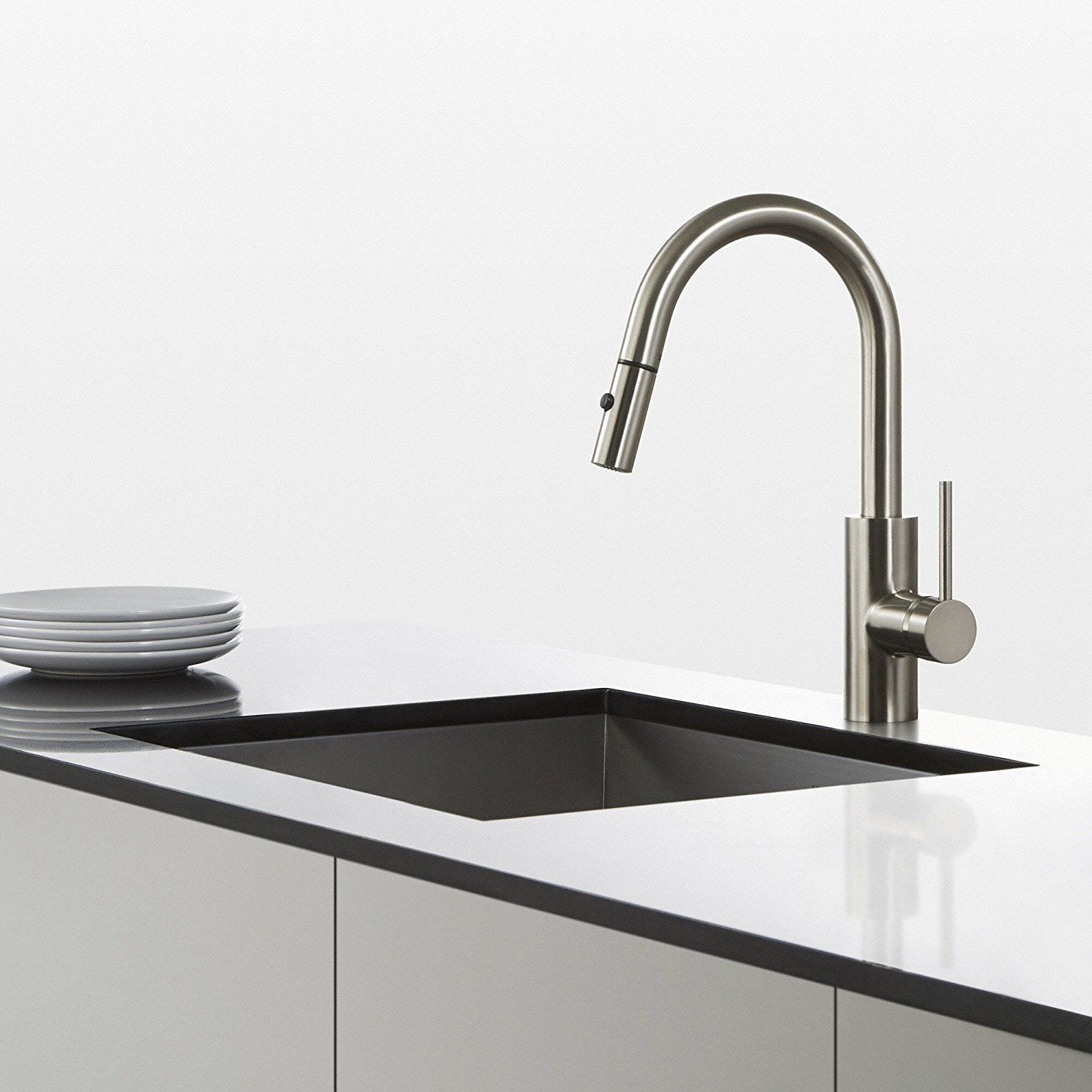 Kraus oletto single handle pull down kitchen faucet with dual function sprayer in stainless steel at the home depot mobile