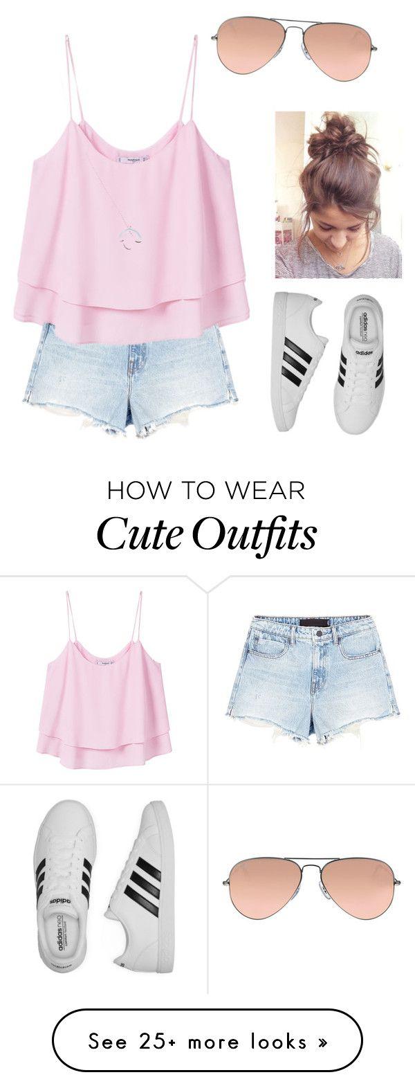 """Cute casual outfit "" by summeraraujo on Polyvore featuring MANGO, adidas, Alexander Wang, Wolf & Moon and Ray-Ban"