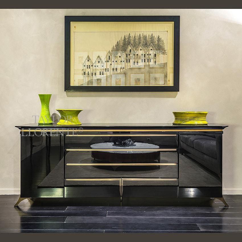 Luxury Sideboard Shiny Black And Brass Sideboard Taylor