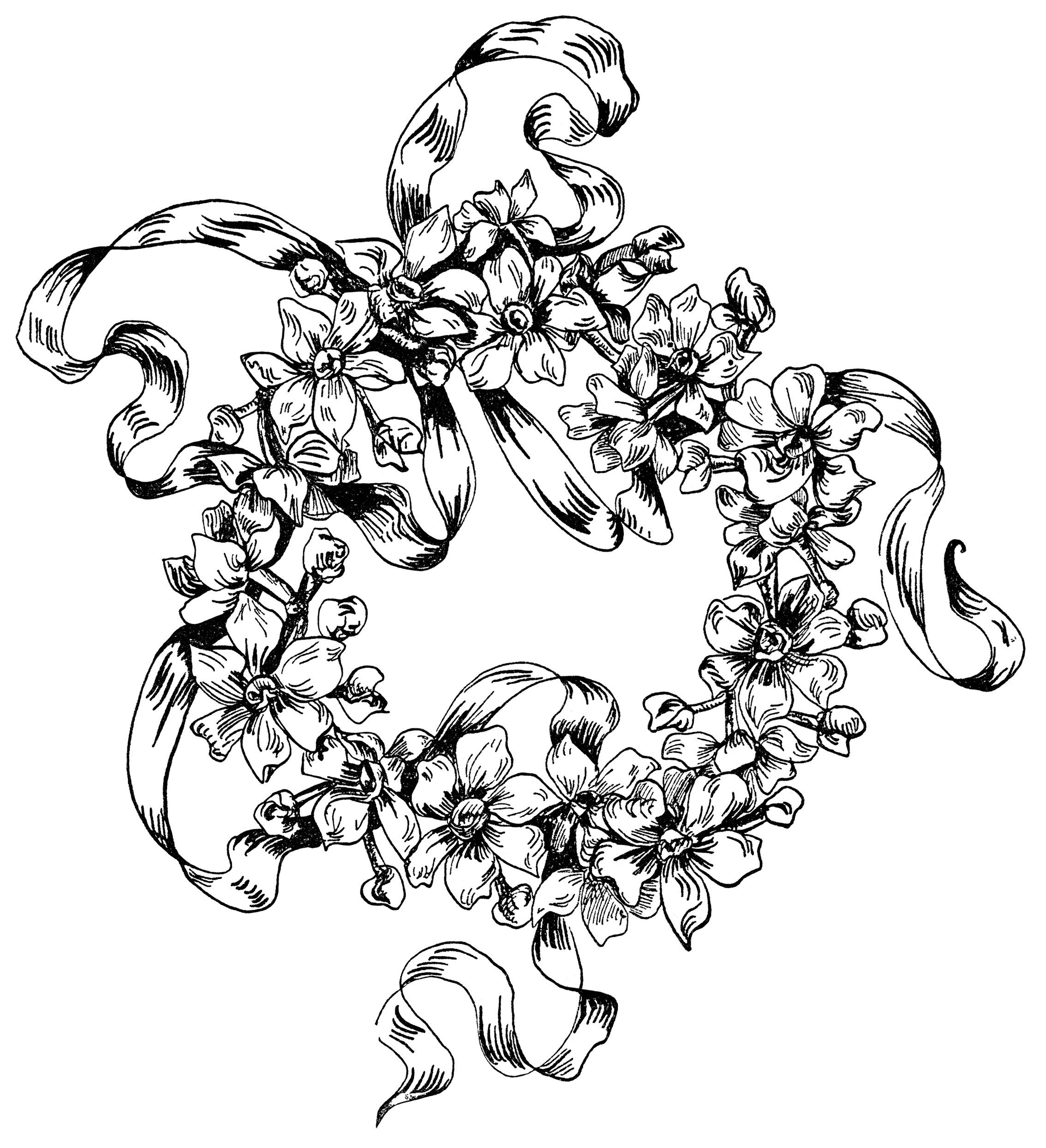 flower design illustration, black and white clipart