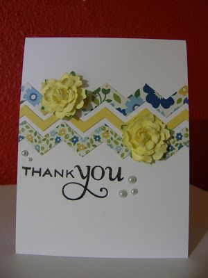 handmade thank you card from Cupcakes, Cards and Kim: Fusion Card Challenge - Hypothesis #1 ... die cut chevron bands in pretty prints ... rolled paper flowers ... lovely ...