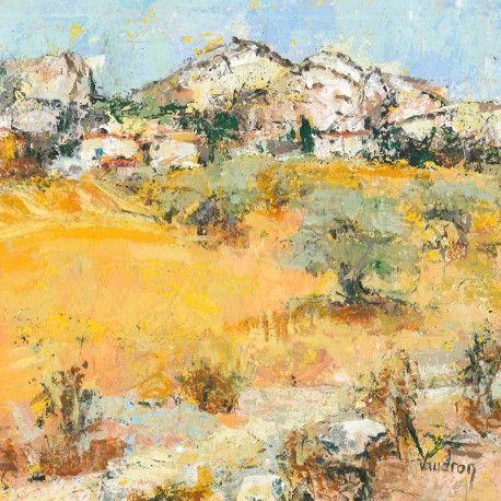 Oeuvre Paysage - Juillet à Lauris - Catherine Vaudron - Acrylique