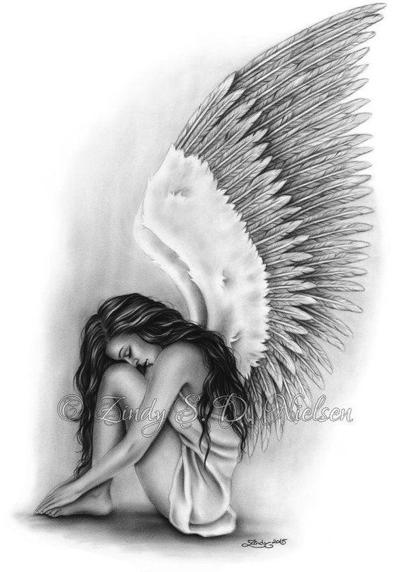 Angel Wings Heaven Girl Art Print Emo Fantasy Girl Zindy Nielsen #mygirl