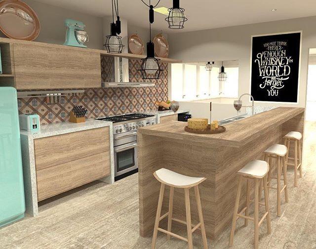 WEBSTA @ arqpbreyer - Cozinha moderna e retrô ao mesmo tempo ❤️ apaixonada demais por esse projeto! #arquitetura #architecture #interiordesign #designdeinteriores #decoracao #decor #vintage #wood #gourmet #azul #cozinhas #kitchen #pbarquitetura