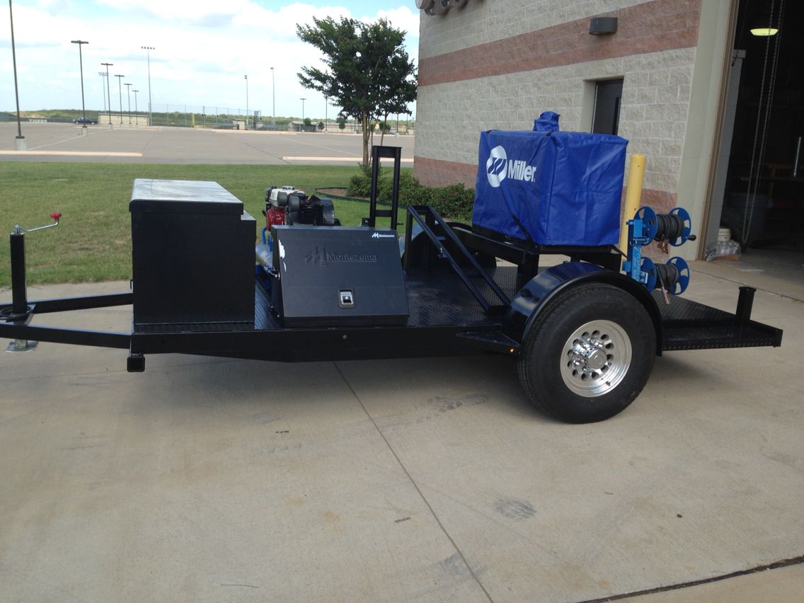Welding trailer with Montezuma tool box, RKI tool box