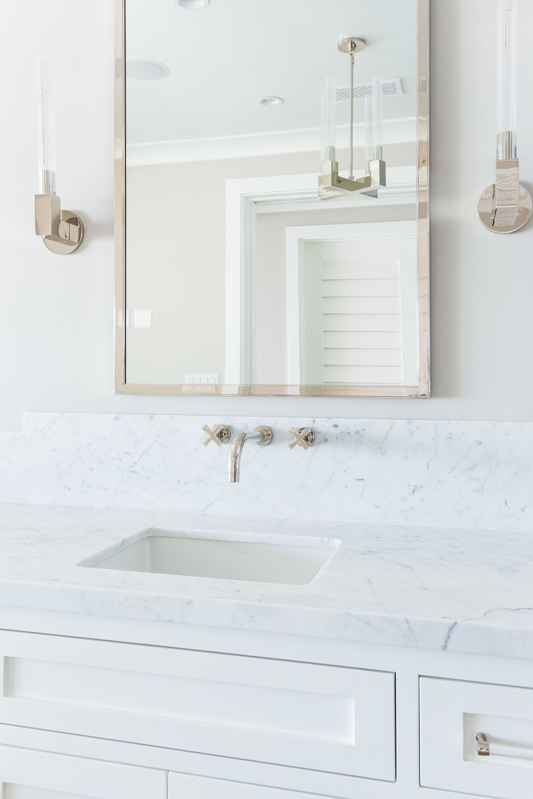 Bathroom Marble Restoration Hardware Modern Chrome Mirror Melissa ...
