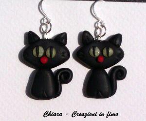 #Orecchini Gatti neri in #fimo