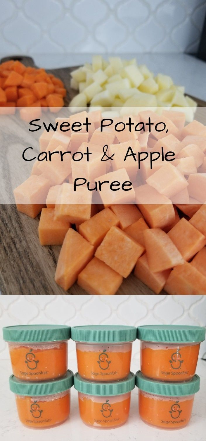 Sweet Potato, Apple & Carrot Puree for your little one! Homemade baby food recipes #babyfood #purees #baby #sweetpotato #homemadebabyfood
