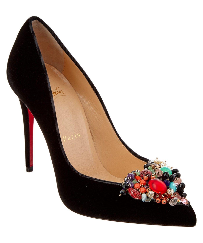 CHRISTIAN LOUBOUTIN Christian Louboutin Diva Cora 100 Emellished Velvet Pump'.  #christianlouboutin #shoes