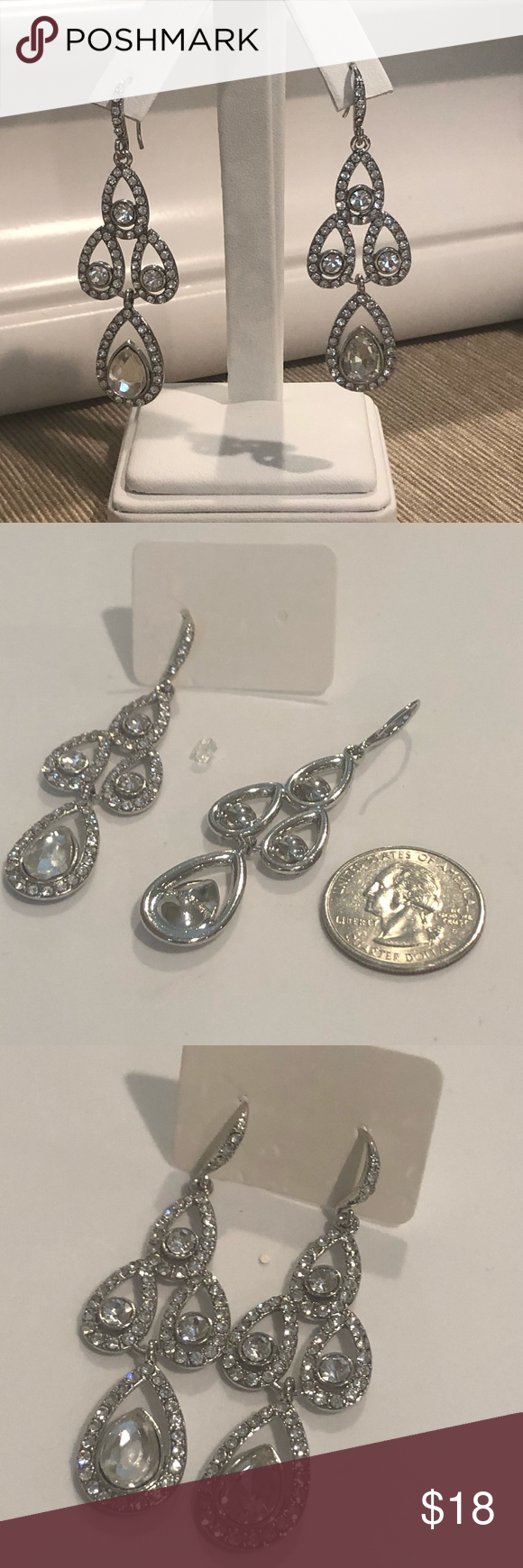 2afdb9ca0 🆕Silver Tone and Crystal/Rhinestone Drop Earrings 🆕Silver Tone and Crystal/Rhinestone  Drop Earrings; BEAUTIFUL for Prom or ANY other special occasion ...