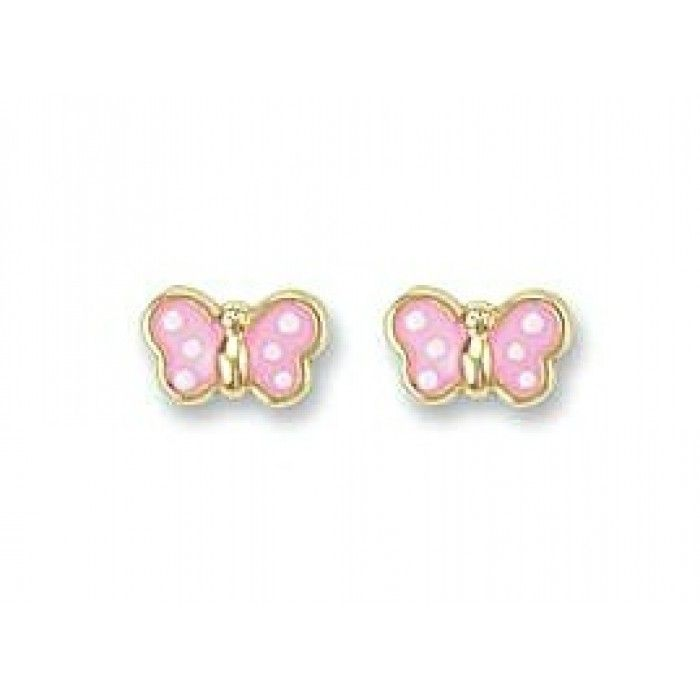 Baby And Children S Earrings 9k Gold Pink Erflies With Push Backs Back By Por Demand At Jewels