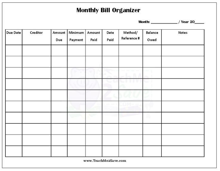 FREE Printable Monthly Bill Organizer http\/\/teachme2save - blank spreadsheet template