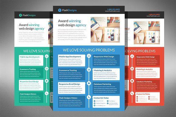 Flat Design Web Design Agency Flyer by Creativenauts on @creativemarket