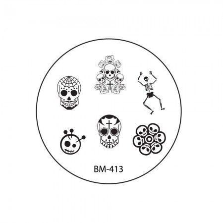 2013 CYO Nail Stamping Plate BM413 - Sugar Skulls + Skeletons