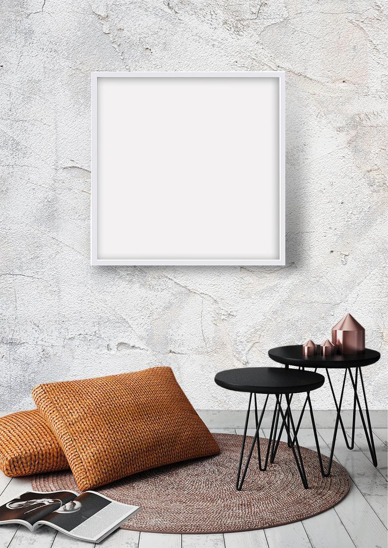 Frame Mockup 202 White Square Photo Frame On Living Room Wall
