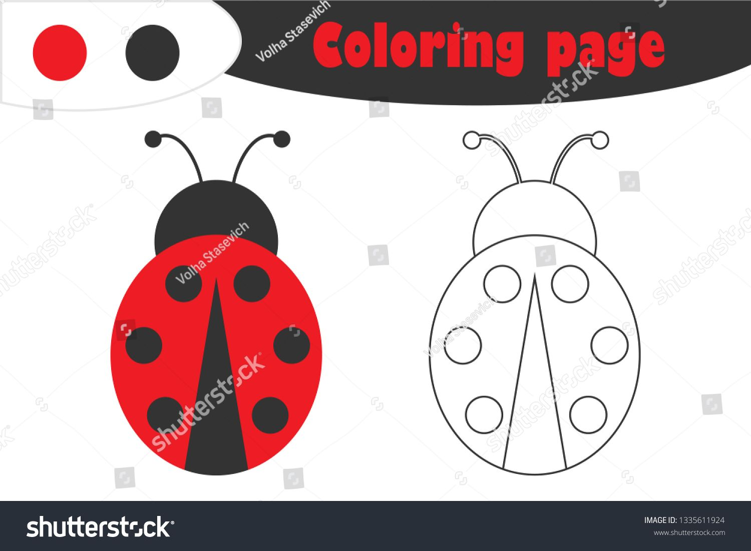 Ladybug In Cartoon Style Coloring Page Spring Education