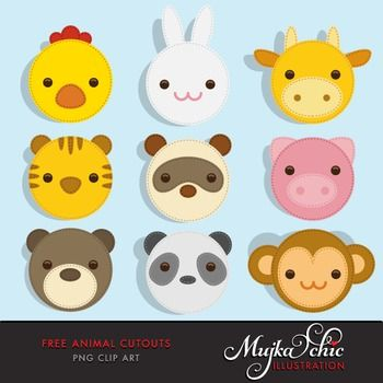 Free Animal Cutout Clipart9 cute animal head cutouts for all your ...