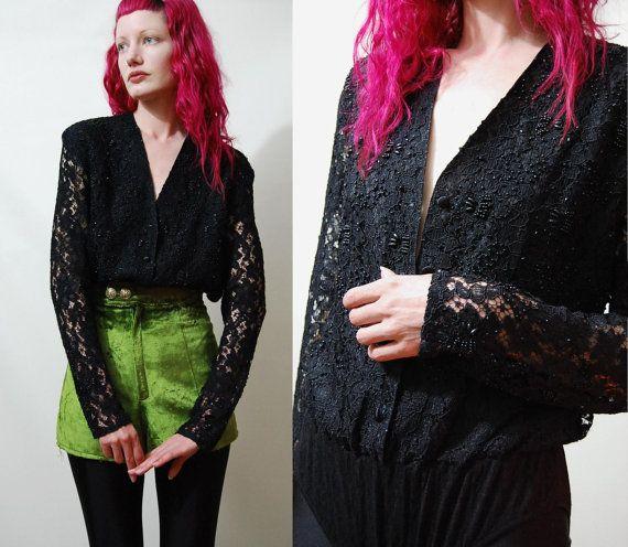 90s Vintage BODYSUIT Black Lace Leotard Onepiece by cruxandcrow, $69.00
