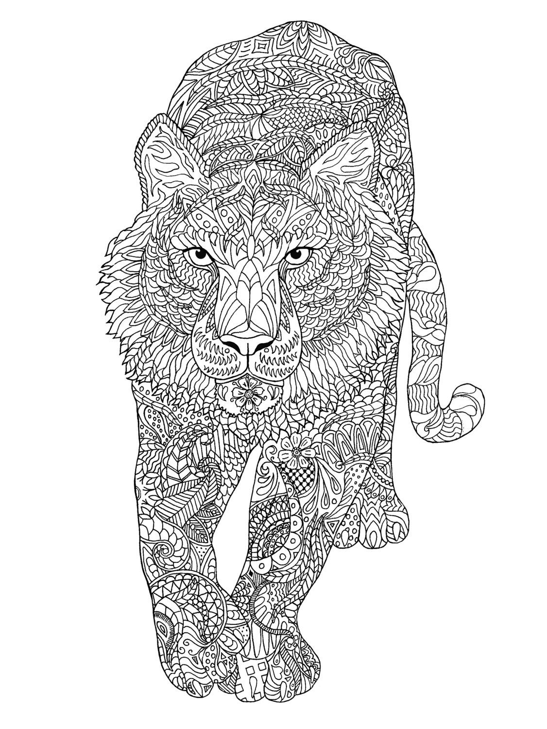 Tiger Coloring Page By Colormefreelife On Etsy