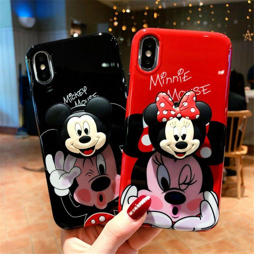 For iPhone X XS Max XR 8 7 6 Cute Cartoon Disney Minnie Toy Stand ...