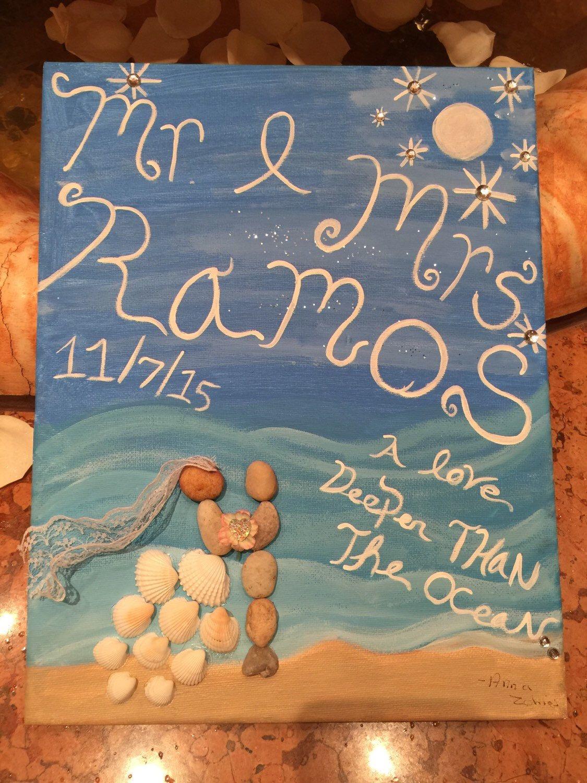 Wedding Gift Bride And Groom Stone Painting Beach Wedding Decor