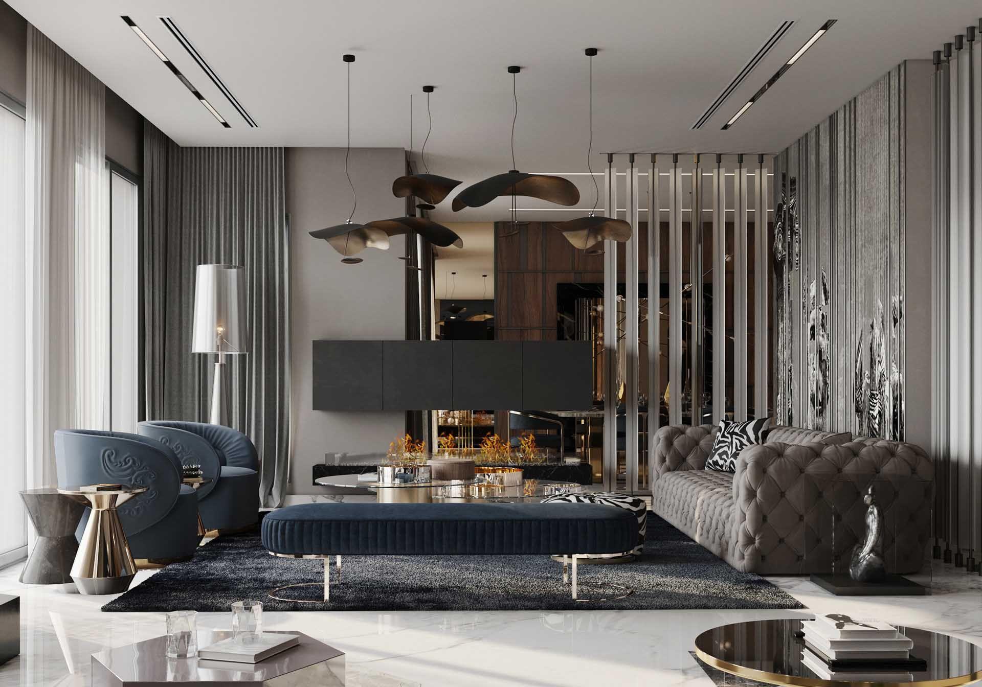 Monochromatic Grey Modern Living Room Decor With Restoration Hardware Soho Inspired In 2020 Modern Grey Living Room Luxury Living Room Decor Buy Living Room Furniture