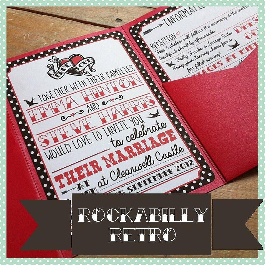 pocketfold rockabilly wedding invitation by lovely jubbly ...