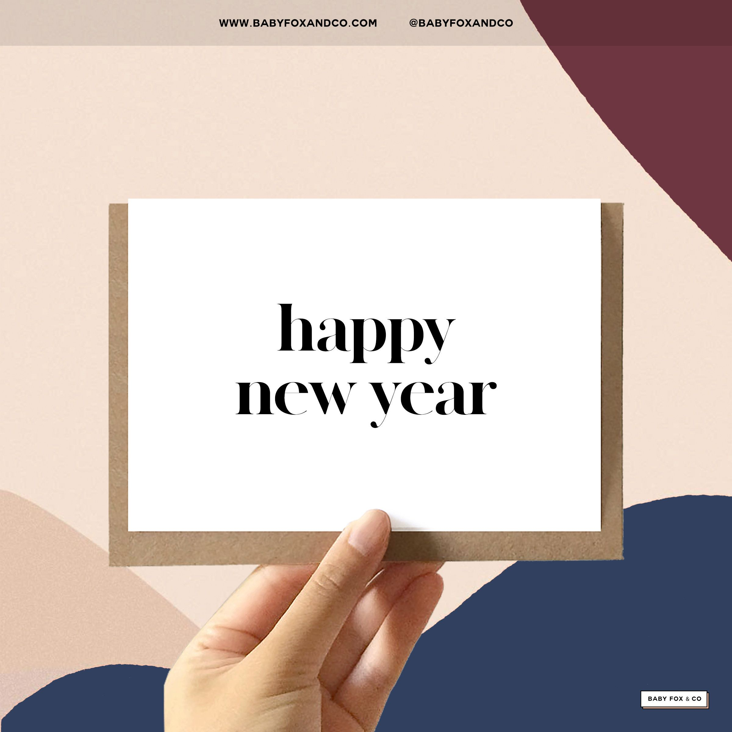Happy New Years Cards | Set of 5 Minimal Holiday Cards ...