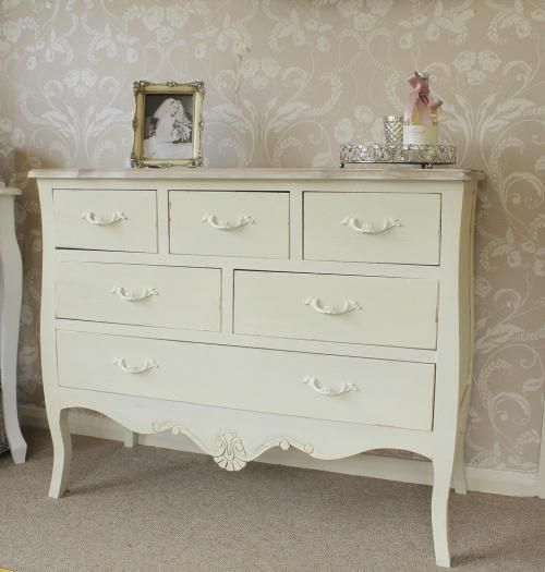 Cream 5 drawer chest shabby French chic vintage country ...