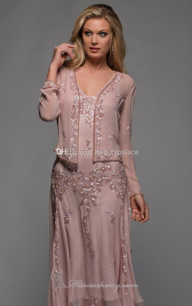 New Scala A Line V Neck Long Sleeves Tea Length Mother of The Bride Dresses with Appliques and Beaded