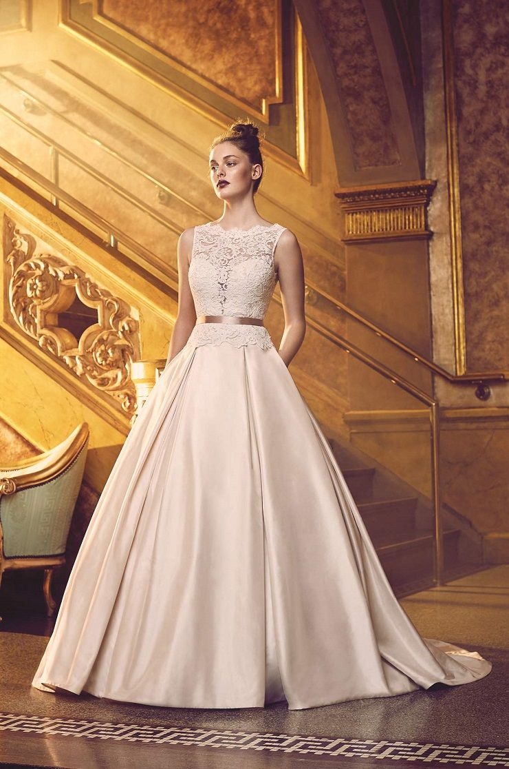 French Alençon Lace and Silk Dupioni Wedding Dress. Sleeveless lace bodice with bateau neckline and V-neckline on back. | Paloma Blanca style 4720 | itakeyou.co.uk