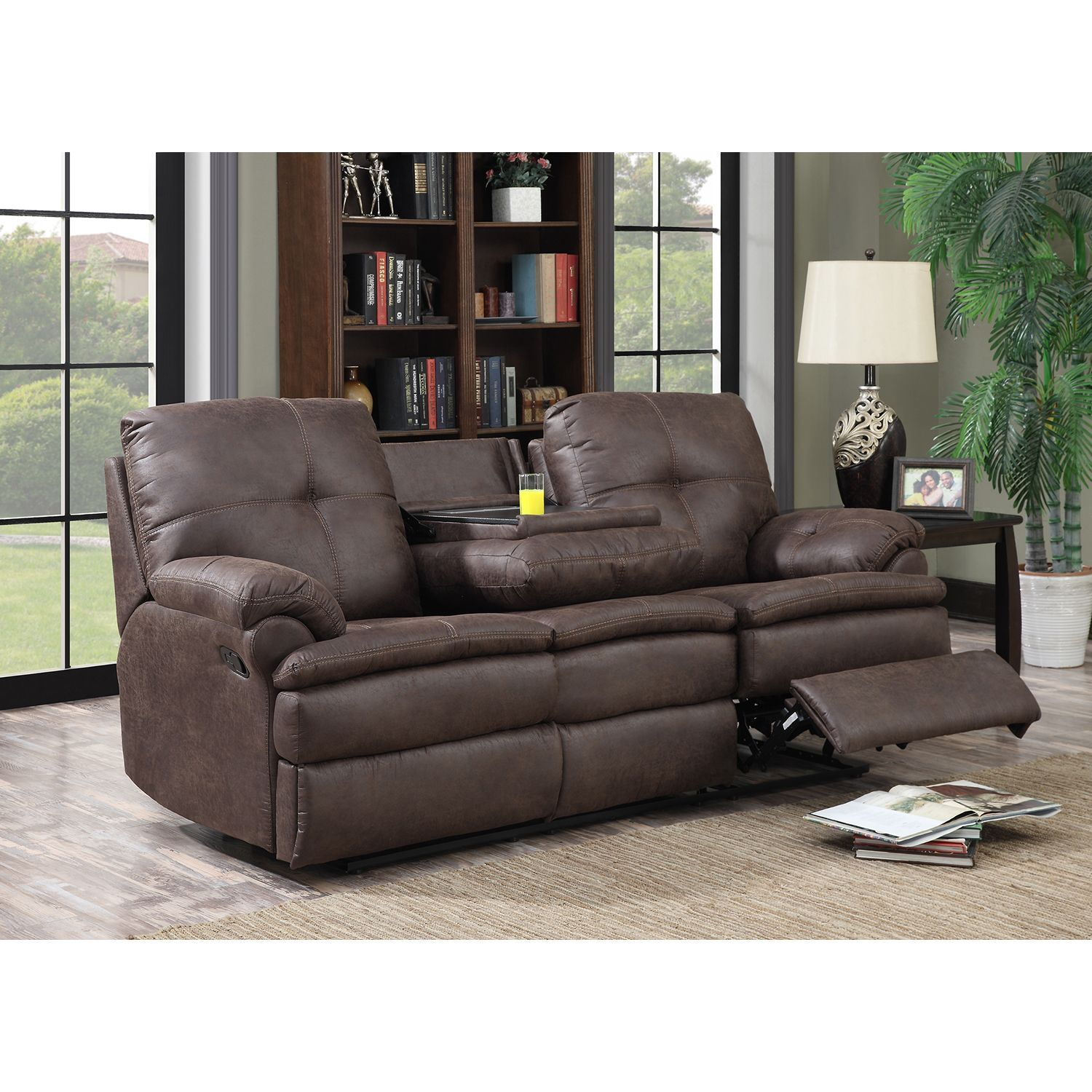 Buck Faux Leather Reclining Sofa