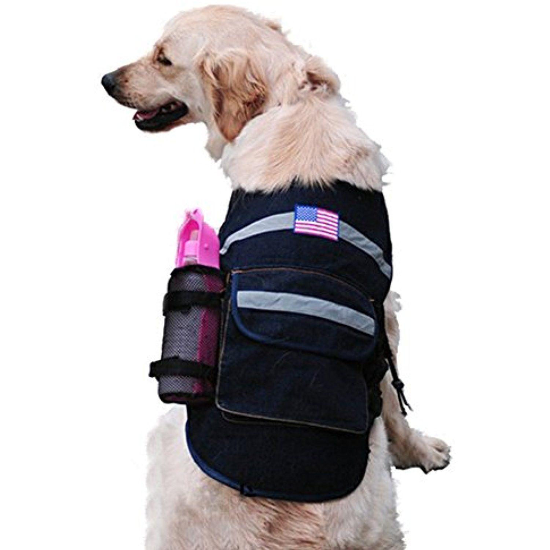 Pet Dog Backpack Denim Style Harness Bag Leash Connector Design
