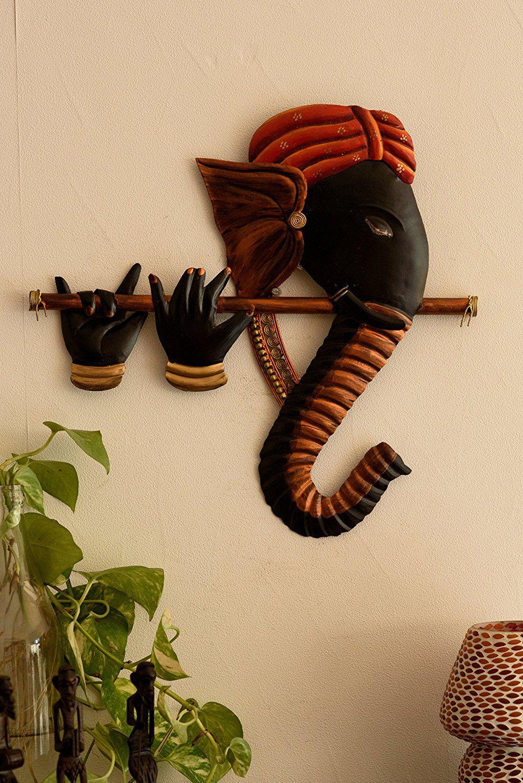 Buy Ecraftindia Bansuri Ganesha Wrought Iron Wall Hanging 43 Cm X