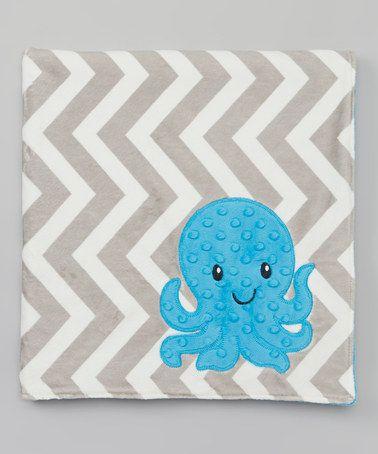 "Another great find on #zulily! 28"" x 32"" Silver Zigzag Octopus Minky Blanket #zulilyfinds"