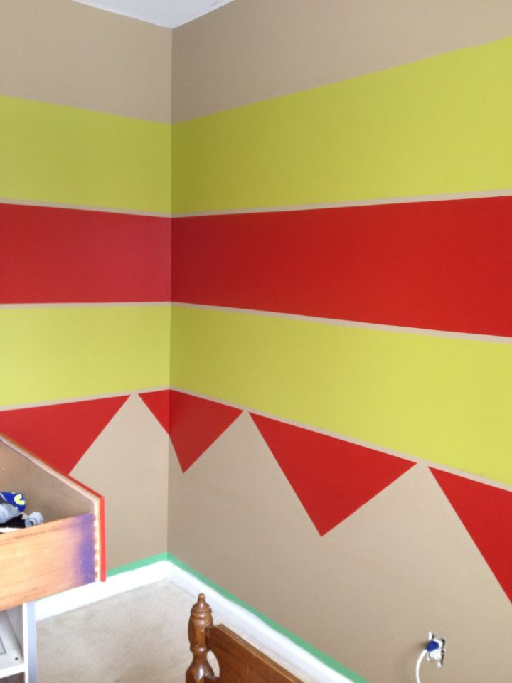 """Fun wall painting. I did this in son's room. I used """"mistake"""" paint from Grundy's Hardware."""