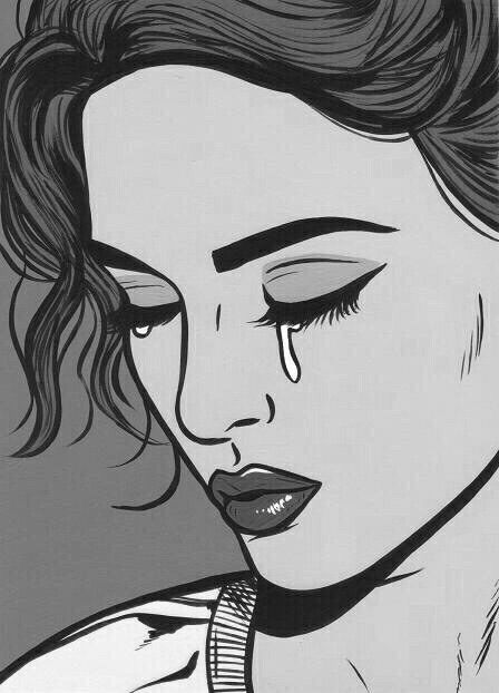 Image via we heart it art blackandwhite cry draw drawing