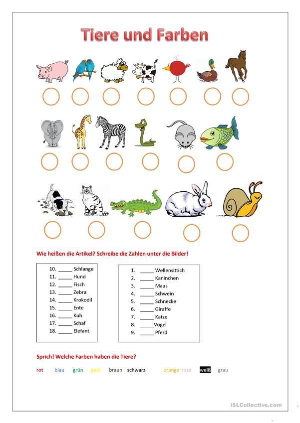 Tiere Und Farben Deutsch Lernen Deutsch Lernen Spiele Lernen
