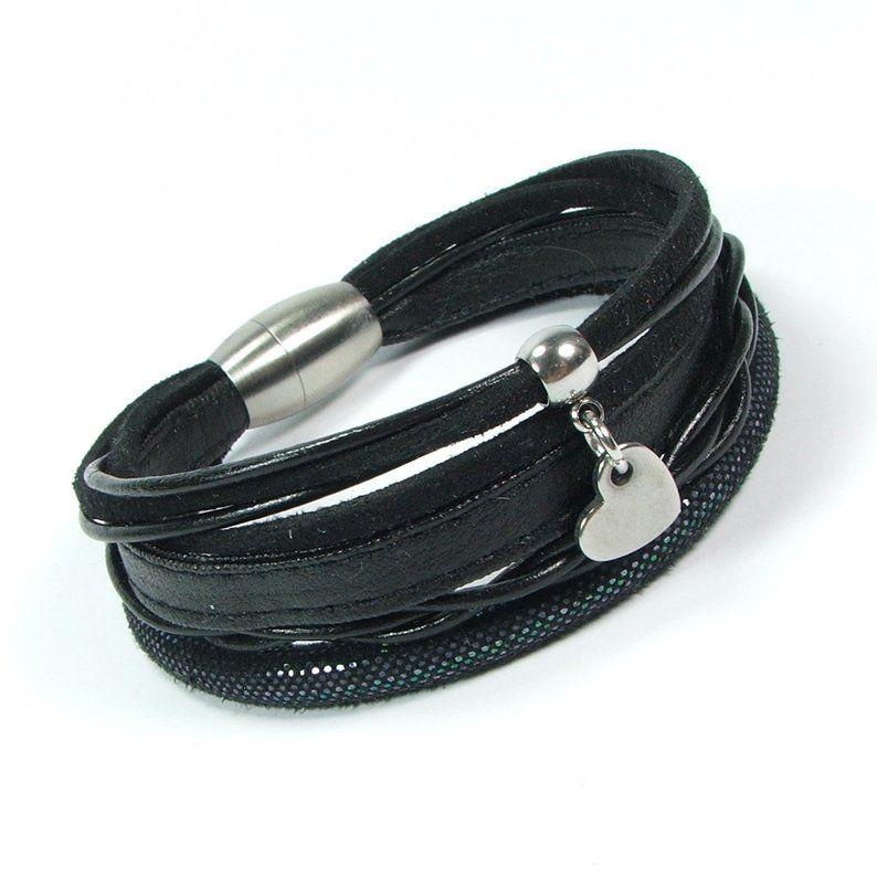 Black leather women bracelet bracelet with surgical steel