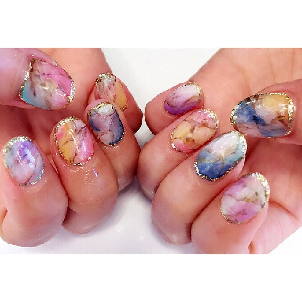 可愛い #天然石ネイル #nail#nailsart #nailsdid #nailswag #ネイル#ジェルネイル #天然石#春ネイル#naildesign #おかわ#trunail #福岡 by norikayuki