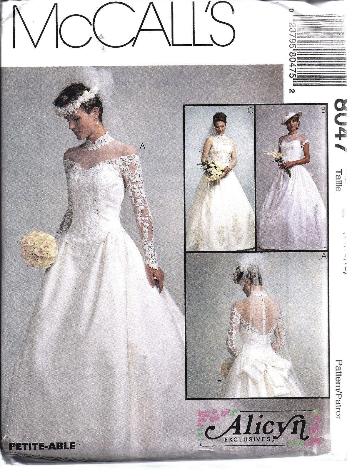 8047 Uncut Vintage Mccalls Sewing Pattern Misses Bridal Gown Wedding Dress…: Pattern Wedding Dress Shapes At Websimilar.org
