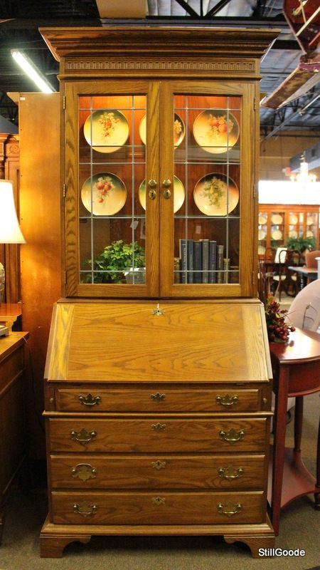 Pennsylvania House Drop Front Secretary Desk With Lighted Glass Door Bookcase Hutch Base Has