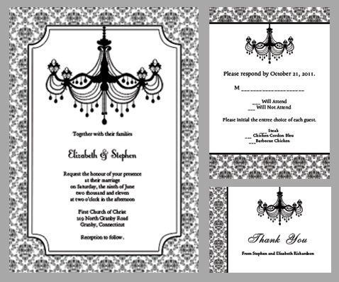 Black and white chandelier wedding invitation free invite rsvp black and white chandelier wedding invitation free invite rsvp thank you mozeypictures Image collections