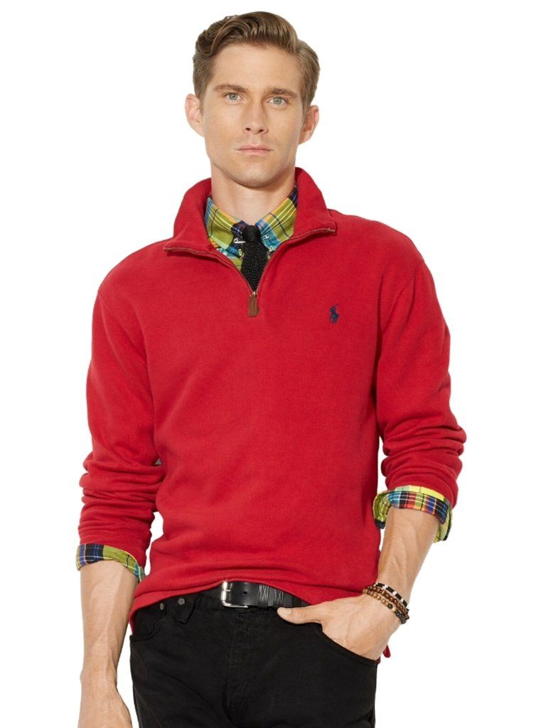 1235c2713 Polo Ralph Lauren Men s Half Zip French Rib Cotton Sweater Large Pioneer Red   GreatSkyGifts